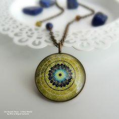 EARTH MANDALA Brass Necklace Green Mandala Necklace Boho Necklace Lapis Lazuli Agate Mandala Art Print Mandala Pendant Gift for Women Gifts