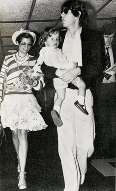 Bianca and Mick Jagger with daughter Jade, early 1970s