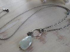 Aquamarine Nugget Pendant Necklace Long Oxidized Silver