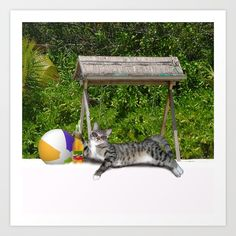 Buy Vacation Time - Beach Bum Kitty Art Print by #Gravityx9 - Worldwide shipping available at #Society6 . Just one of millions of high quality products available. ~ #walldecor #beach #vacation #cat #catposter #beachcat #vacationcat #funny #summer