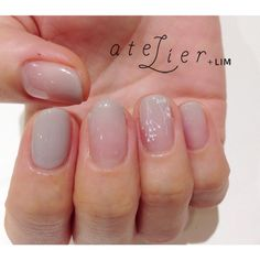 Ombre manicure with light grey   LESS IS MORE