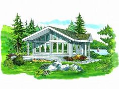 Cabin Home Plan, 032H-0050 817 sq.ft.
