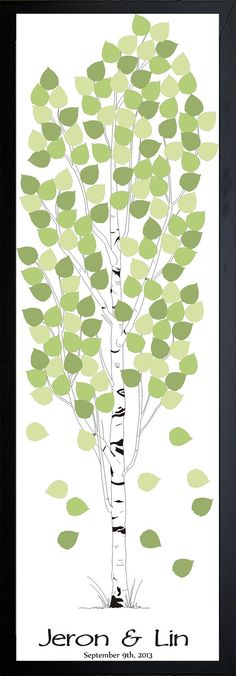 "Personalized Wedding Tree Guest Book  Aspen, size 12""x36"" for up to 150 guests"
