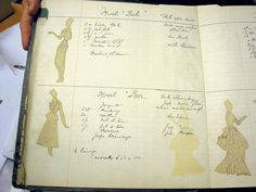 Christian Dior Fashion Notebook (also showing the famous Bar Suit) with Sketches and detail information about the type and quantity of the fabrics    from the collection 1947/48 Spring / Summer