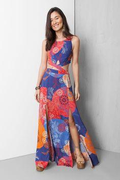 vestido longo estampado temari | Dress to