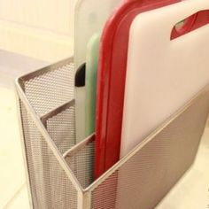 Organizing cutting boards with file organizer! #diy #organize #kitchen #homeorganization