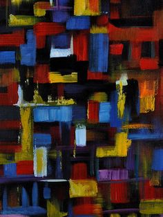 "Abstract Art Original Oil Painting Blocks & Squares on Canvas - 16"" x 12"" - ABSTRACT FORM. $220.00, via Etsy."