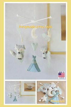 Baby Mobile, Tribal Nursery, Indian Nursery, Summer Camp Nursery, Neutral Mobile , Feather and Fox Mobile, Granite Gray Mint Sage Ivory by hingmade on Etsy https://www.etsy.com/listing/251546317/baby-mobile-tribal-nursery-indian