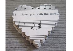 Music Sheet Paper scallop Valentine heart.  Not sure what I would do with them but I'll find something.