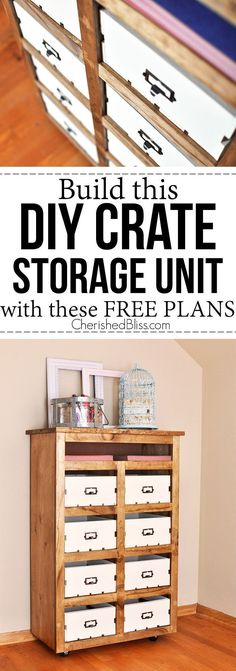 DIY Crate Storage Unit is part of File Organization Crates - Build this DIY Crate Storage Unit to help keep everything organized and out of sight! With these free plans you will be on your way to a more organized 2015 Diy Furniture Projects, Furniture Plans, Home Projects, Furniture Storage, Crate Storage, Diy Storage, Storage Ideas, Photo Storage, Diy Rangement