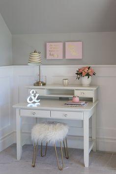 Creative Kids Bedroom Decorating Ideas Girl's bedroom Nook with desk Blue Teen Girl Bedroom, Teenage Girl Bedrooms, Girl Rooms, Girls Room Desk, Kid Bedrooms, Teen Girl Desk, Kid Desk, Kids Room, Desks For Girls