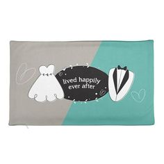 Bride & Groom Rectangular Pillow Case only  Lived Happily