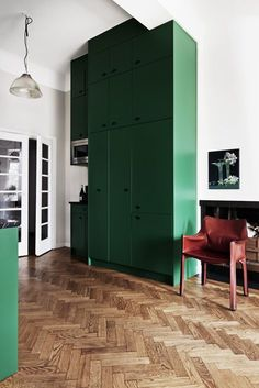 IDEA : color cabinets to ceiling, herringbone floor - tall ceiling