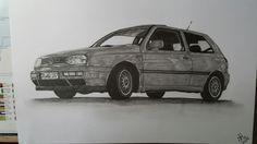 A4 Zeichnung von einem VW Golf mit Faber-Castell Bleistiften in den Stärken 2H-8B gezeichnet