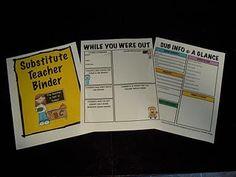emergency sub plans/binder