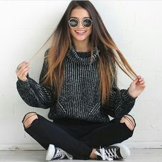 Back to School Fashion - Sweater + Ripped Denim + Converse Sneakers