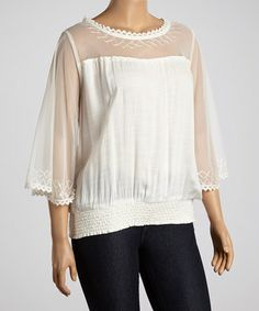 zulilyfind! Ivory Sheer Three-Quarter Sleeve Top ...use pattern but create more interest at upper chest, remove the elastic band