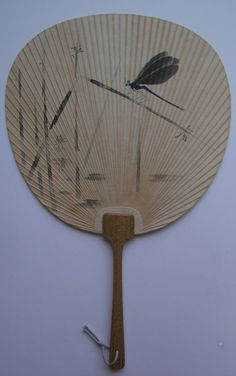 Hand painted paddle fan, bamboo and paper, vintage Japanese uchiwa