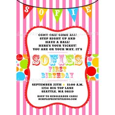 Carnival Invitation Template Free New Free Printable Carnival Birthday Party Invitations Free Carnival Birthday Invitations, Birthday Party Invitation Wording, Carnival Birthday Parties, Printable Invitation Templates, Free Printable, Printables, Card Templates, Invitation Ideas, Templates Free