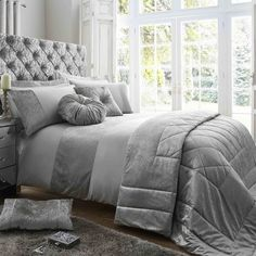 Tessella Embroidered Sparkly Sequin Fancy Modern Duvet Quilt Cover Bedding Set