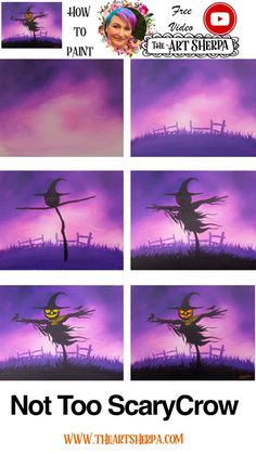 Easy Scarecrow Acrylic Painting Beginner Step By Step Days Of Halloween Halloween Canvas Paintings, Acrylic Painting Tutorials, Night Painting, Diy Painting, Halloween Painting, Fall Canvas Painting, Painting Art Projects, The Art Sherpa, Simple Acrylic Paintings