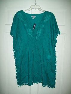 tunic #top #summer #beach #style #deals #sale #eBay #teal #vneck # ...