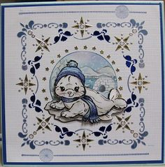 Winterkaartje met Hobbydots gemaakt plaatjes van Yvonne creations
