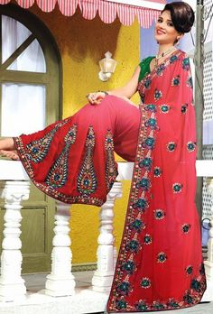 $100.21 Red Silk A Line Embroidery with Stone Work Silk Saree 25758