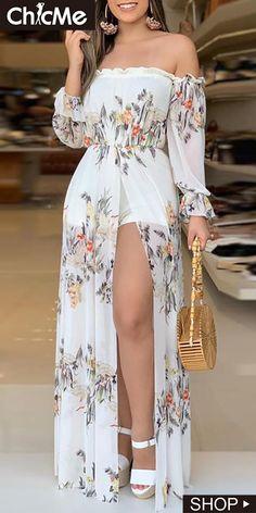 2020 Autumn Women Fashion Holiday Jumpsuit Casual Asymmetrical Off Shoulder Romper floral Print Culotte Design Thigh Slit Romper Trend Fashion, Look Fashion, Floral Fashion, Lolita Fashion, Woman Fashion, Colorful Fashion, Retro Fashion, Fashion Ideas, Winter Fashion