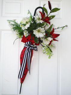 Door decor, umbrella with flowers, wreath