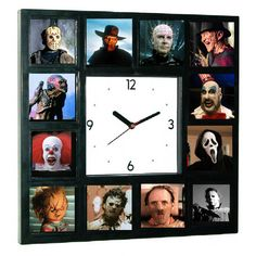GLOW-IN-THE-DARK Horror Movie Hannibal Lecter, Pinhead, Pumpkinhead, Chucky, Leatherface, Scream, Captain Spaulding, Michael Myers, Jason Voorhees, Creeper, Pennywise, Freddy Krueger, Halloween Clock
