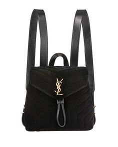 b260e6d5065 Monogram YSL Loulou Small Y-Quilted Suede Backpack Designer Backpacks
