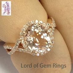 Oval Morganite Engagement Ring Pave Diamond Wedding 14K Rose Gold 8x10mm - Lord of Gem Rings - 1