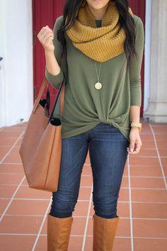 Mustard Scarf + Green Twist Sweater + Dark Skinnies + Tote