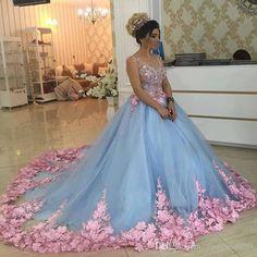 Baby Blue 3D Floral Masquerade Ball Gowns 2017 Handmade Flower Debutante Quinceanera Dresses Sweet Girls 15 16 Years Dress