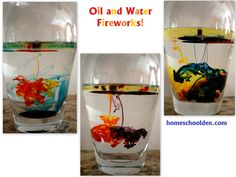 Oil and Water Fireworks Activity - Homeschool Den Activities For 5 Year Olds, Kids Activities At Home, Science Projects For Kids, Stem Projects, Science For Kids, Summer Activities, Mad Science, Kids Crafts, Science Topics