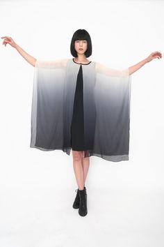 Silk Grey Ombré Dip Dye Drape Dress by amuletboutique on Etsy, $280.00
