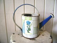 Vintage Holly Hobbie Watering Can Tin Toy Litho by junquegypsy, $25.00