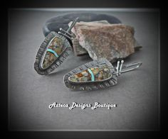 Ribbon of Time~ Royston Ribbon Rock Silver Artisan Earrings by AztecaDesignsBoutique, $185.00 USD