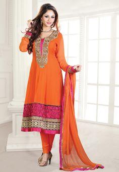 #Orange Faux Georgette #Anarkali Churidar Kameez @ $184.66