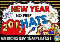 Are you looking for a New Year's 2017 activity? Kids will love making and wearing these New Year's hats! This resource includes various black and white hat templates. Simply choose the most adequate template for your class, print and go! Choices of the New Year's 2017 hat extensions are also included!