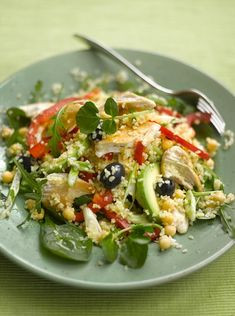 Chicken and bulgar wheat salad - get recipe here: http://www.dailymail.co.uk/health/diets/article-4382480/Recipe-Chicken-bulgar-wheat-salad.html