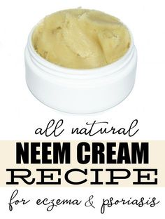 Best Home Remedy for Problem Skin! Natural Neem Cream Recipe for Eczema & Psoriasis! Not only is this homemade neem cream recipe easy to make, it's perfect for anyone suffering from just about any skin condition. While it works wonders as a natural remedy for eczema and psoriasis to help promote healing and offer relief, it can also be used to fight cold sores, athletes foot, acne and even scabies!