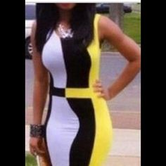 Yellow, Black, & White Colorblock Bodycon Dress This Colorblock dress is super sexy and perfect for any day or night out. It is made out of polyester and spandex. This dress is brand new and comes in a sealed bag, without tags. It comes in S,M,L. Please let me know which size you'd like and I'll create a separate listing for you! Dresses