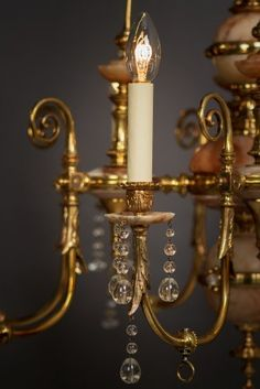 Crystal Chandelier - 8 Branch Alabaster Gasolier Circa 1860 - English Antique (vintage retro antique style) Funky Lighting, Antique Lighting, Lighting Design, Antique Lanterns, English, Modern Chandelier, Light Fittings, Save Energy, Candle Sconces