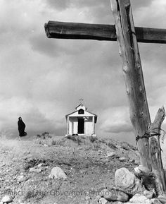 """Penitente chapel, Capilla de Santa Rita, near Chimayo, New Mexico Creator: New Mexico Tourism Bureau Date: 1955? Negative Number HP.2007.20.562 via Palace of the Governors Photo Archives FB Wonderful photo - shades of """"Bless Me Ultima"""""""