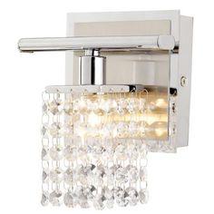 """Sparkle Chrome 6"""" Wide Crystal Bathroom Light Fixture"""