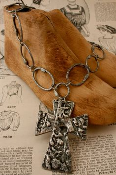 Molten Metal Blessed Cross Necklace by rochellemybelle on Etsy, $65.00