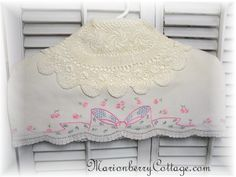 Vintage Ribbons and Roses embroidery  Lingerie hanger cover