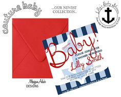 "Nautical Baby Shower (but instead saying ""Ahoy! It's a Boy!"" and a rectangle shape.)"